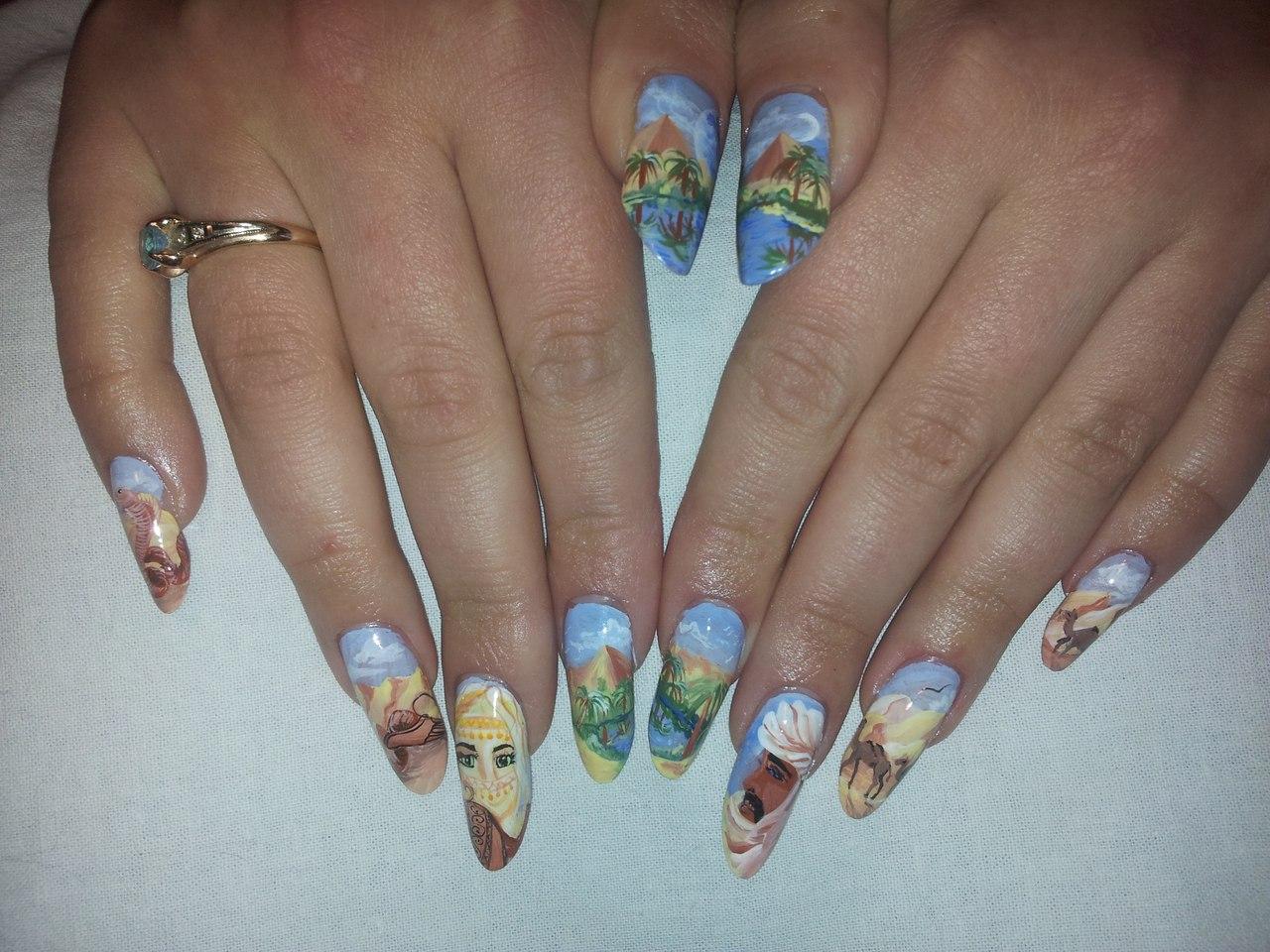 Ногти в стиле гжель фото