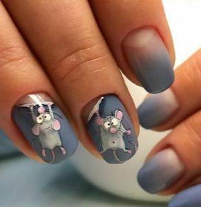 Мышки на ногтях